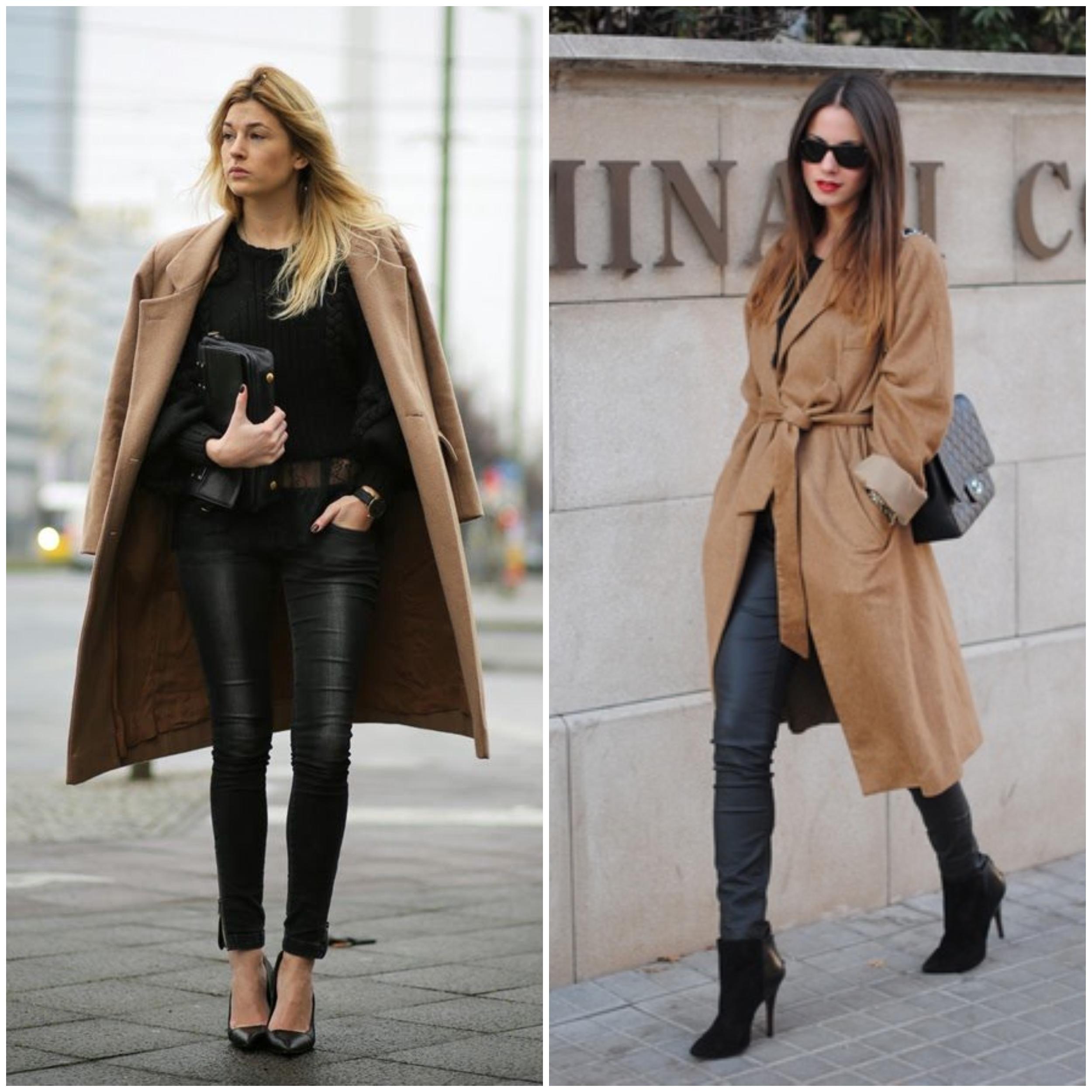 Manteau camel femme long